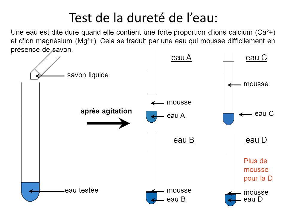 Tableau de différentes aux eaux Becher ou verre ABCD Test du ph6,957,427,137,20 Test des ions calcium-+ -- ++ Test des ions chlorures + -++- - + Test de la dureté DureTrès durePas durePeu dure Test gustatifVaseSucréAcideMagnésienne Identification de leau VolvicEau du robinetEau déminéralisé Contrex