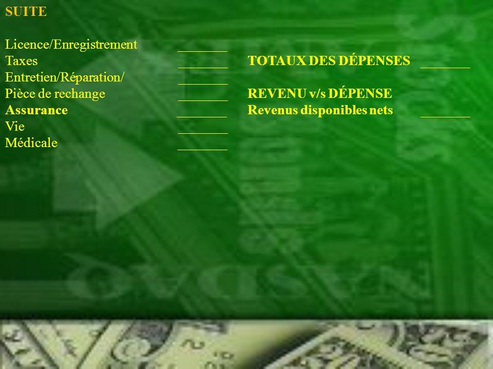 SUITE Licence/Enregistrement _______ Taxes _______TOTAUX DES DÉPENSES _______ Entretien/Réparation/ _______ Pièce de rechange _______ REVENU v/s DÉPEN