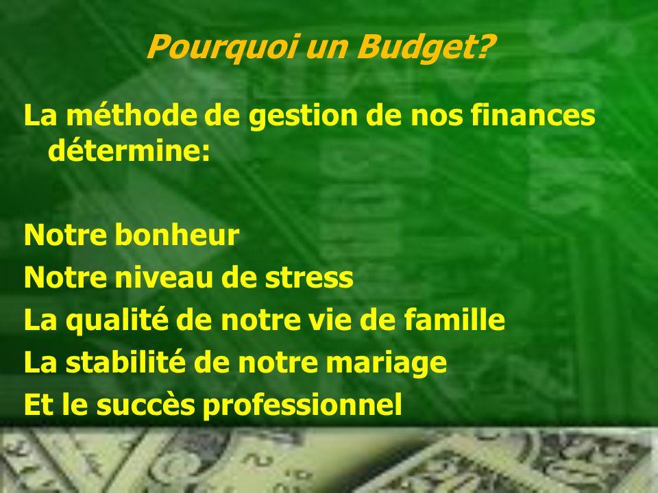 La méthode de gestion de nos finances détermine: Notre bonheur Notre niveau de stress La qualité de notre vie de famille La stabilité de notre mariage