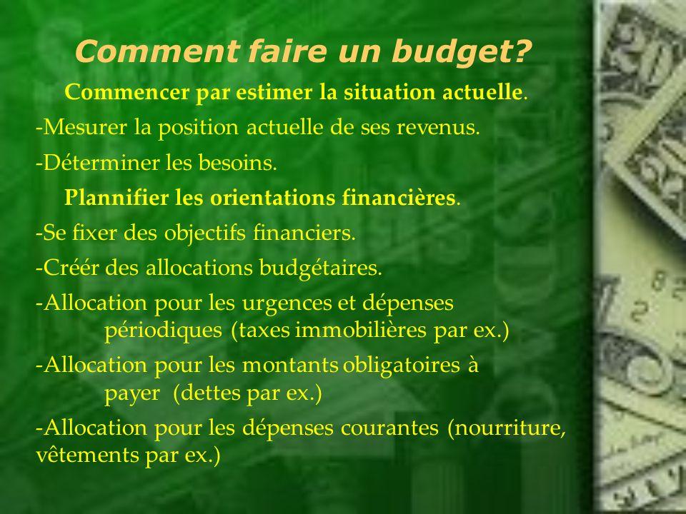 Comment faire un budget? Commencer par estimer la situation actuelle. -Mesurer la position actuelle de ses revenus. -Déterminer les besoins. Plannifie