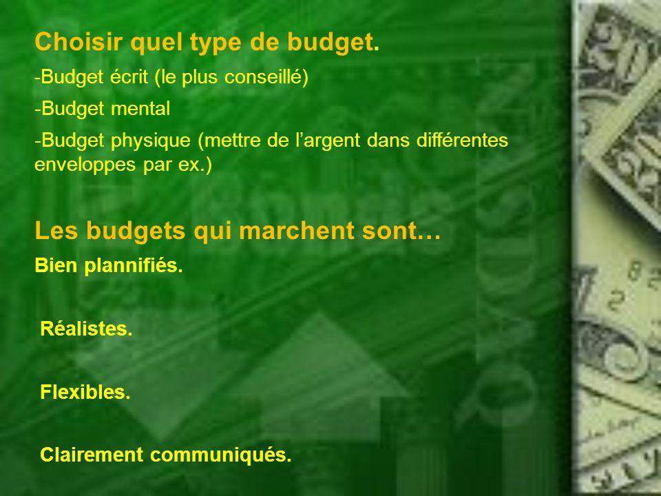 Choisir quel type de budget. - Budget écrit (le plus conseillé) -Budget mental -Budget physique (mettre de largent dans différentes enveloppes par ex.
