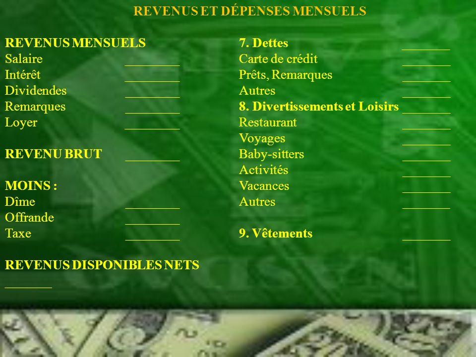 SUITE Logement _______10.Économies _______ Hypothèque (Loyer) _______11.