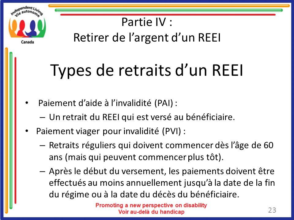 Types de retraits dun REEI Paiement daide à linvalidité (PAI) : – Un retrait du REEI qui est versé au bénéficiaire.