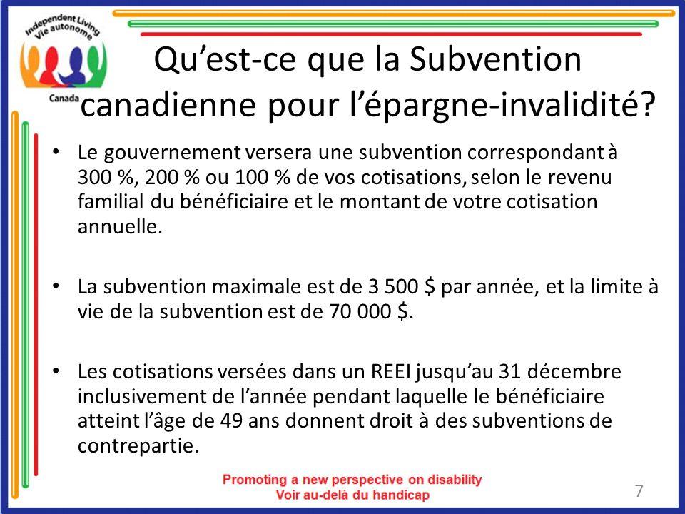 Quest-ce que la Subvention canadienne pour lépargne-invalidité.