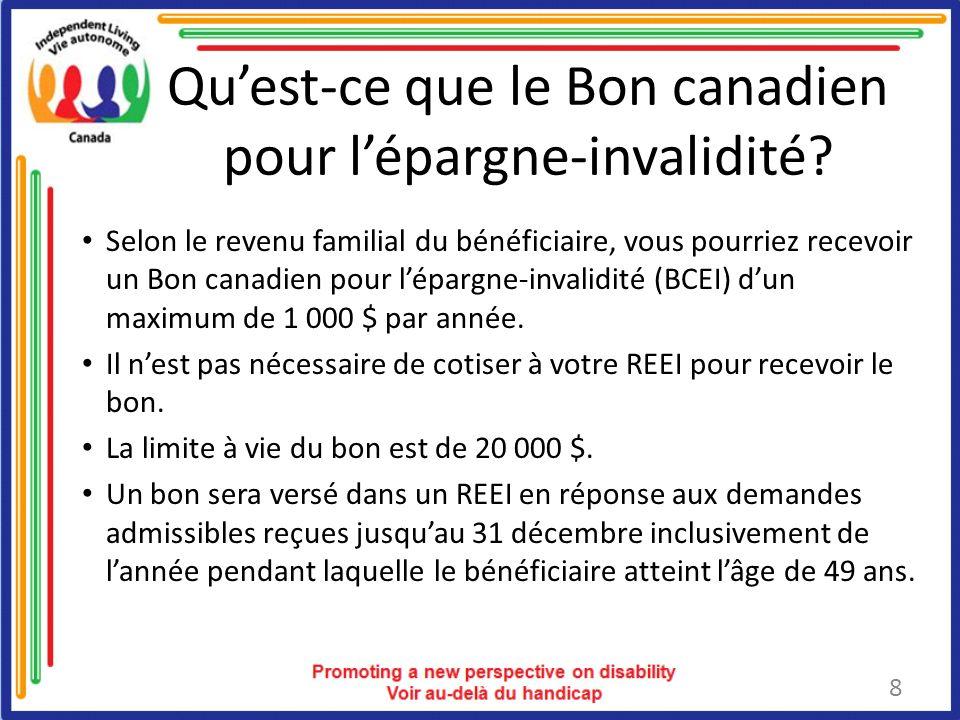 Quest-ce que le Bon canadien pour lépargne-invalidité.