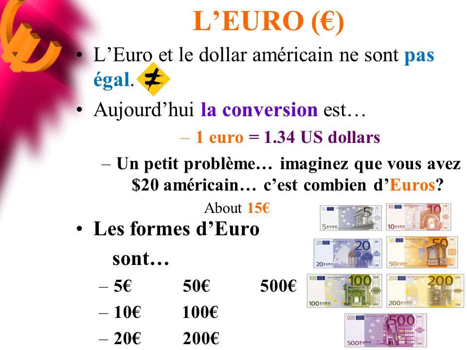 LEURO () LEuro et le dollar américain ne sont pas égal.