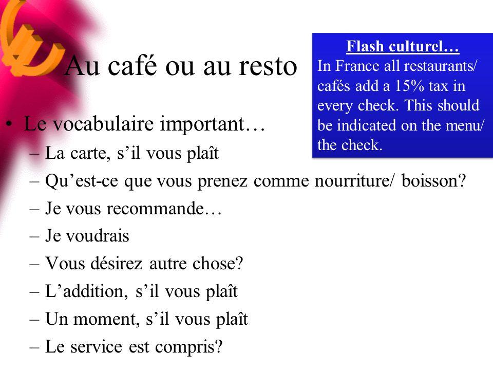 Au café ou au resto Le vocabulaire important… –La carte, sil vous plaît –Quest-ce que vous prenez comme nourriture/ boisson.