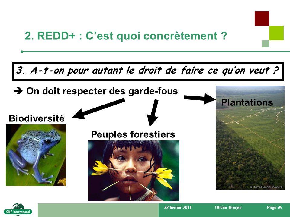 22 février 2011Olivier BouyerPage # 2. REDD+ : Cest quoi concrètement ? On doit respecter des garde-fous Biodiversité Peuples forestiers Plantations 3