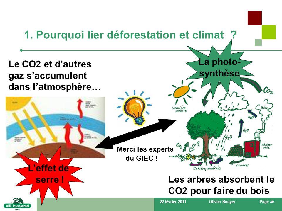 22 février 2011Olivier BouyerPage # 1. Pourquoi lier déforestation et climat ? Leffet de serre ! La photo- synthèse Le CO2 et dautres gaz saccumulent