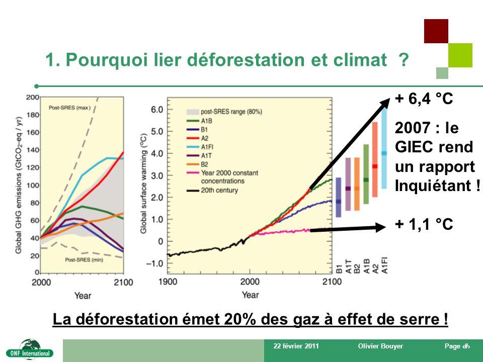 22 février 2011Olivier BouyerPage # 1. Pourquoi lier déforestation et climat ? + 6,4 °C 2007 : le GIEC rend un rapport Inquiétant ! + 1,1 °C La défore