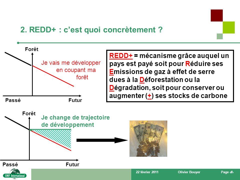 22 février 2011Olivier BouyerPage # 2. REDD+ : cest quoi concrètement ? Je change de trajectoire de développement Forêt FuturPassé Forêt FuturPassé Je