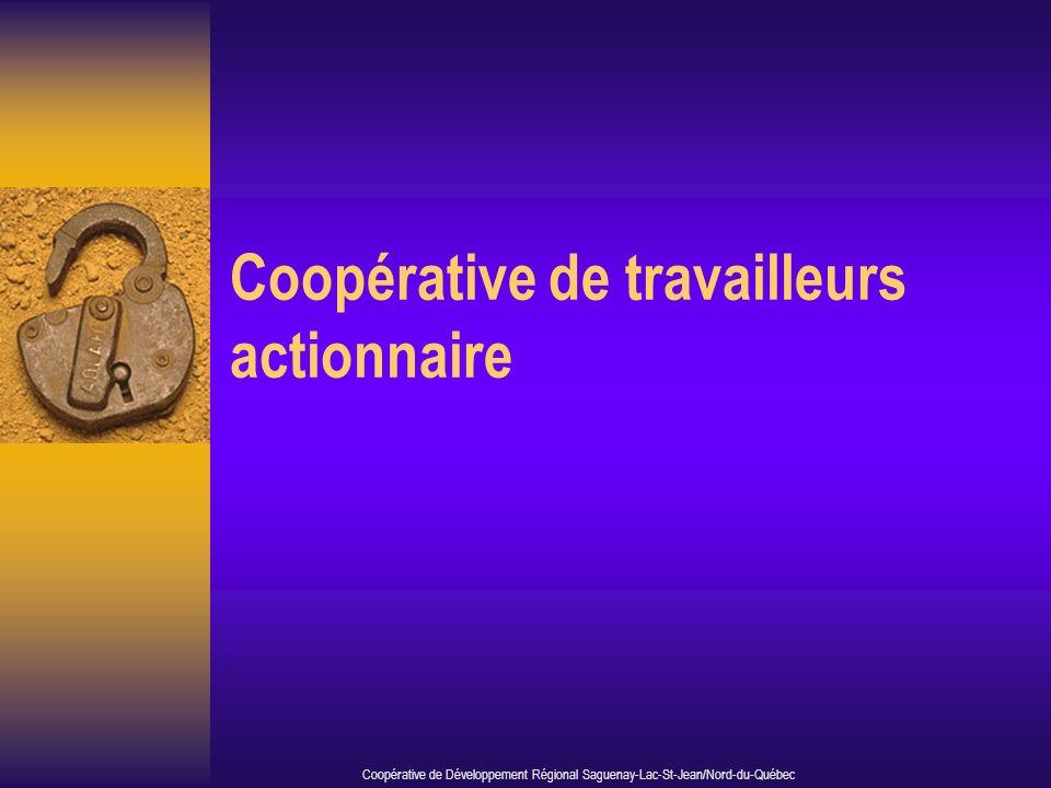 Coopérative de travailleurs actionnaire Coopérative de Développement Régional Saguenay-Lac-St-Jean/Nord-du-Québec