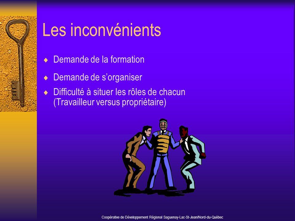 Les inconvénients Demande de la formation Demande de sorganiser Difficulté à situer les rôles de chacun (Travailleur versus propriétaire) Coopérative