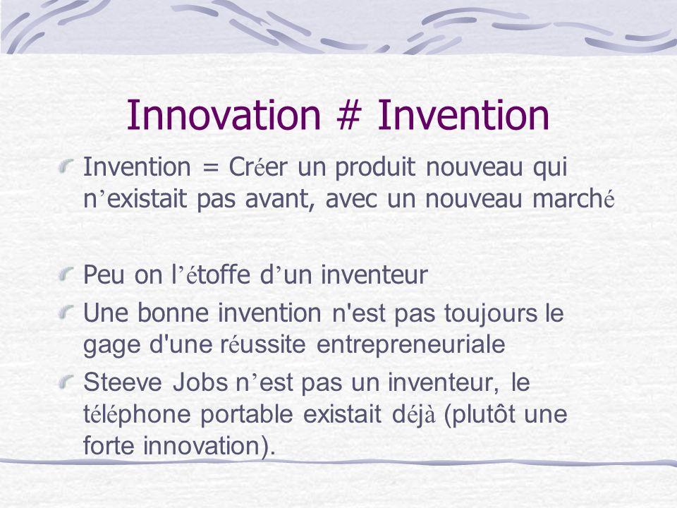 Innovation # Invention Invention = Cr é er un produit nouveau qui n existait pas avant, avec un nouveau march é Peu on l é toffe d un inventeur Une bo