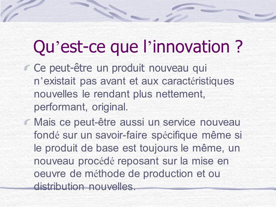 Qu est-ce que l innovation ? Ce peut-être un produit nouveau qui n existait pas avant et aux caract é ristiques nouvelles le rendant plus nettement, p