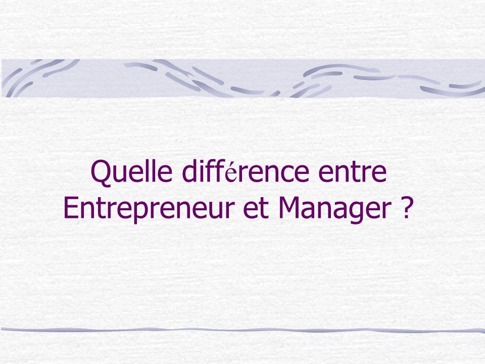Quelle diff é rence entre Entrepreneur et Manager ?