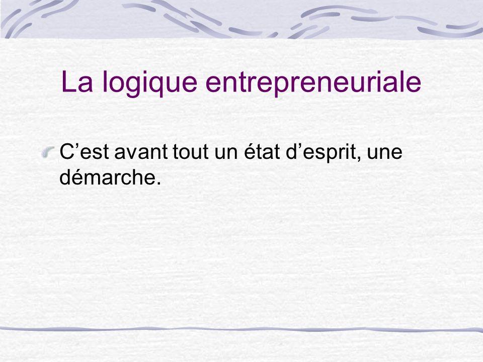 La logique entrepreneuriale Cest avant tout un état desprit, une démarche.