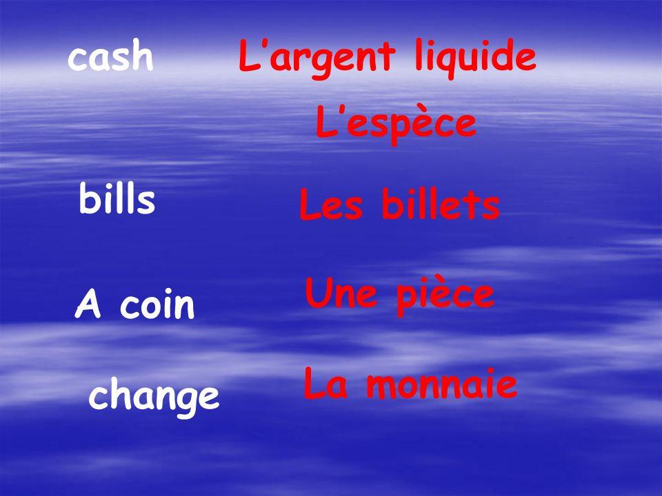 cashLargent liquide Lespèce bills Les billets A coin Une pièce change La monnaie