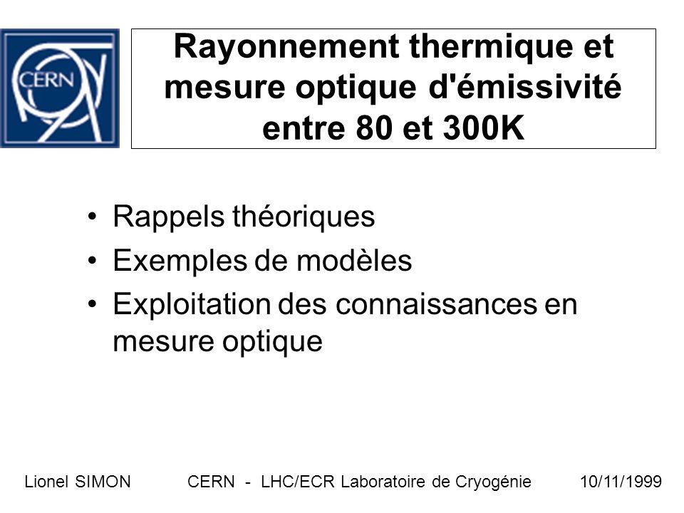 Rayonnement thermique et mesure optique d'émissivité entre 80 et 300K CERN - LHC/ECR Laboratoire de CryogénieLionel SIMON10/11/1999 Rappels théoriques