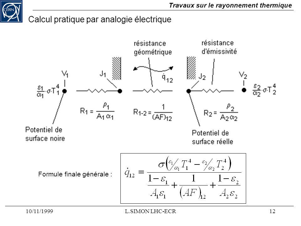 10/11/1999L.SIMON LHC-ECR12 Travaux sur le rayonnement thermique Formule finale générale : Calcul pratique par analogie électrique