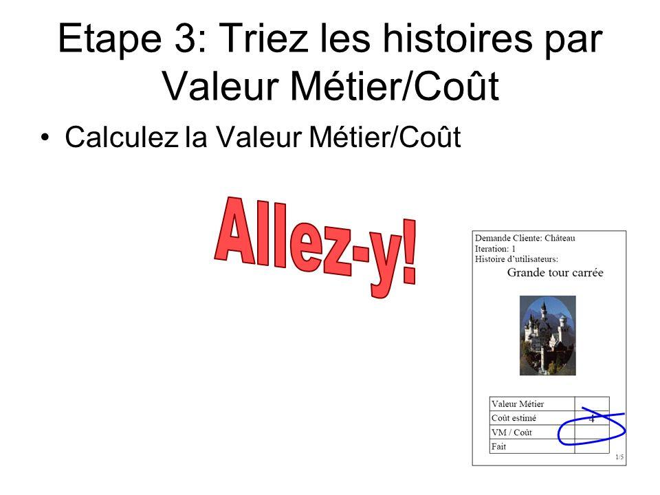 Etape 3: Triez les histoires par Valeur Métier/Coût Calculez la Valeur Métier/Coût