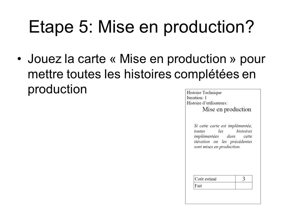 Etape 5: Mise en production? Jouez la carte « Mise en production » pour mettre toutes les histoires complétées en production