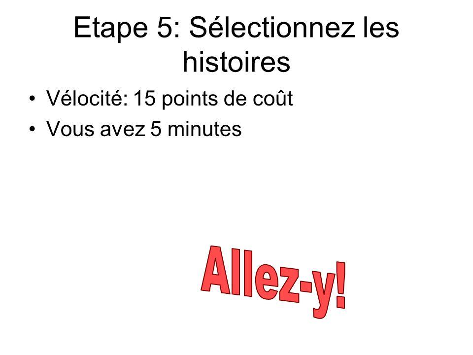 Etape 5: Sélectionnez les histoires Vélocité: 15 points de coût Vous avez 5 minutes