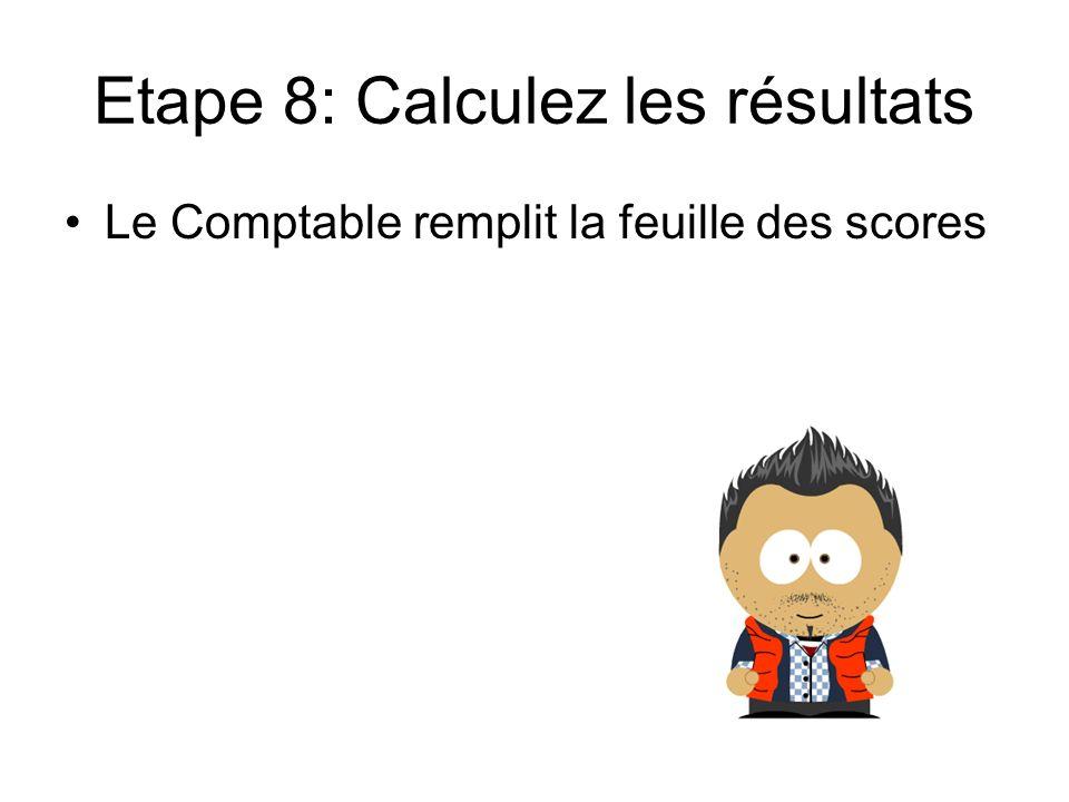 Etape 8: Calculez les résultats Le Comptable remplit la feuille des scores
