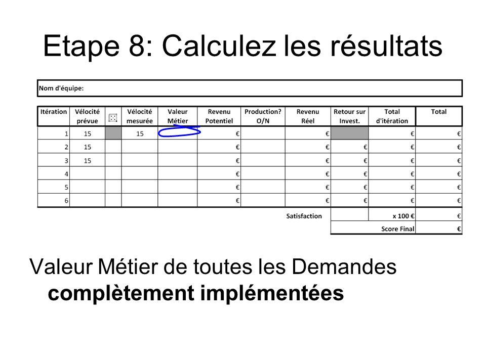 Etape 8: Calculez les résultats Valeur Métier de toutes les Demandes complètement implémentées