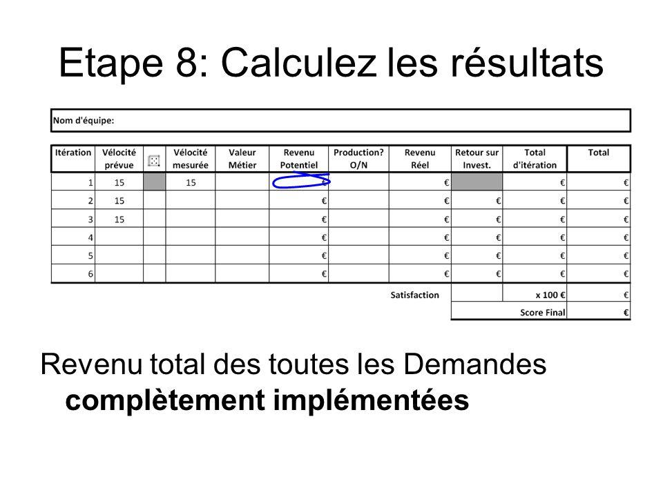 Etape 8: Calculez les résultats Revenu total des toutes les Demandes complètement implémentées