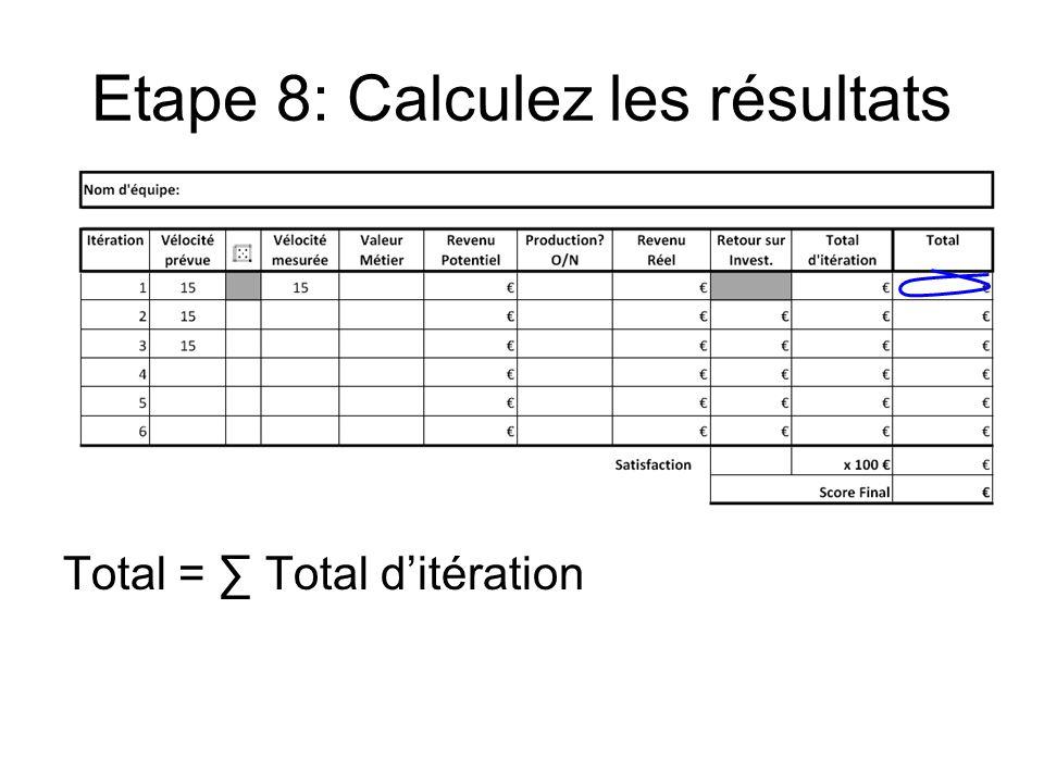Etape 8: Calculez les résultats Total = Total ditération