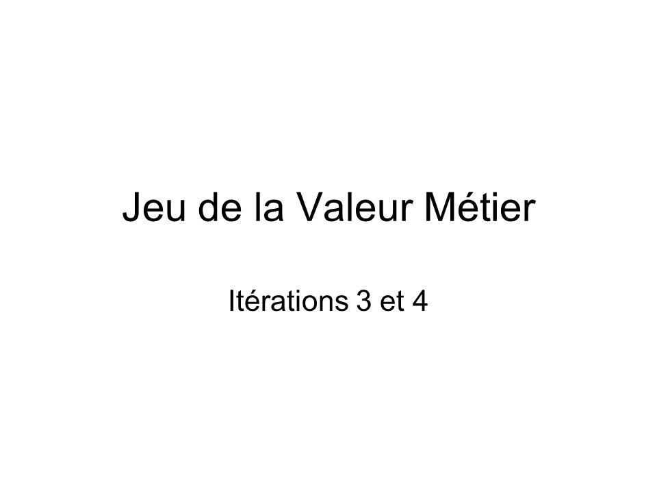 Jeu de la Valeur Métier Itérations 3 et 4