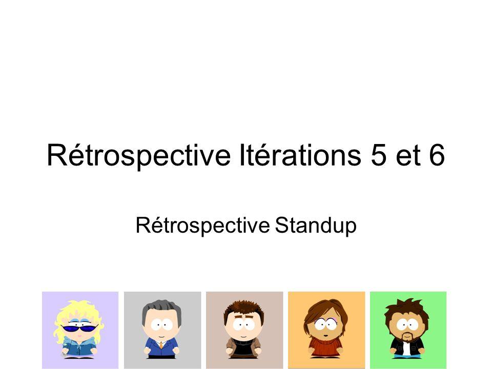 Rétrospective Itérations 5 et 6 Rétrospective Standup