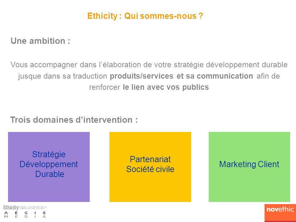 Ethicity : Qui sommes-nous ? Une ambition : Vous accompagner dans lélaboration de votre stratégie développement durable jusque dans sa traduction prod