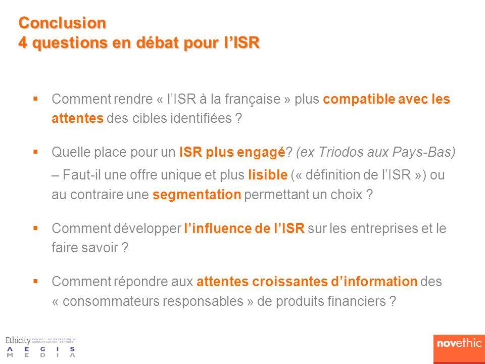 Comment rendre « lISR à la française » plus compatible avec les attentes des cibles identifiées ? Quelle place pour un ISR plus engagé? (ex Triodos au