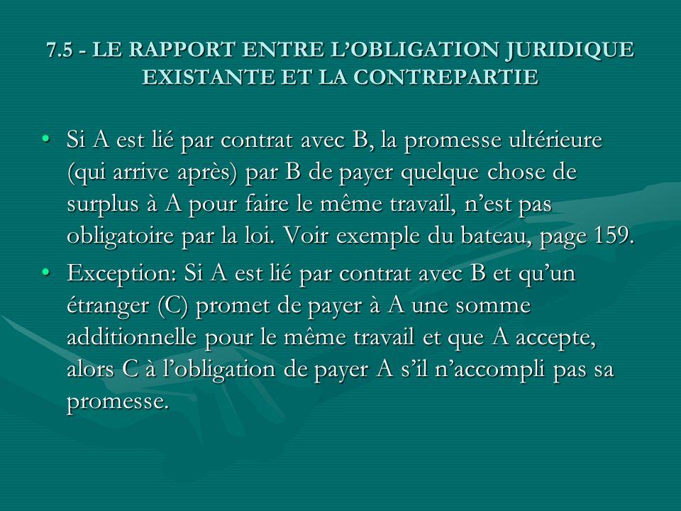 7.5 - LE RAPPORT ENTRE LOBLIGATION JURIDIQUE EXISTANTE ET LA CONTREPARTIE Si A est lié par contrat avec B, la promesse ultérieure (qui arrive après) p