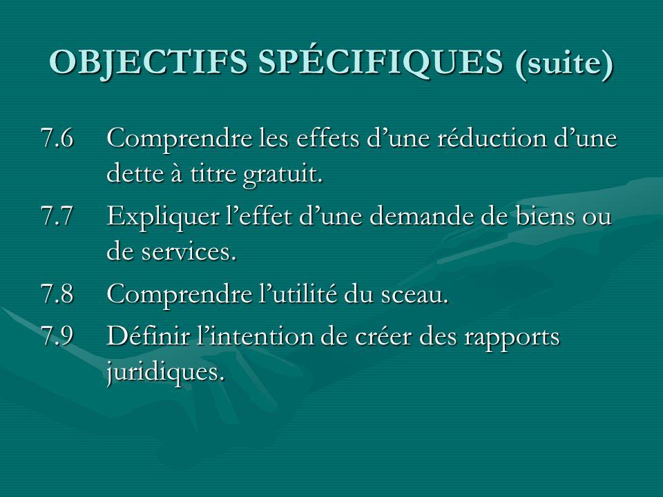 OBJECTIFS SPÉCIFIQUES (suite) 7.6Comprendre les effets dune réduction dune dette à titre gratuit. 7.7Expliquer leffet dune demande de biens ou de serv