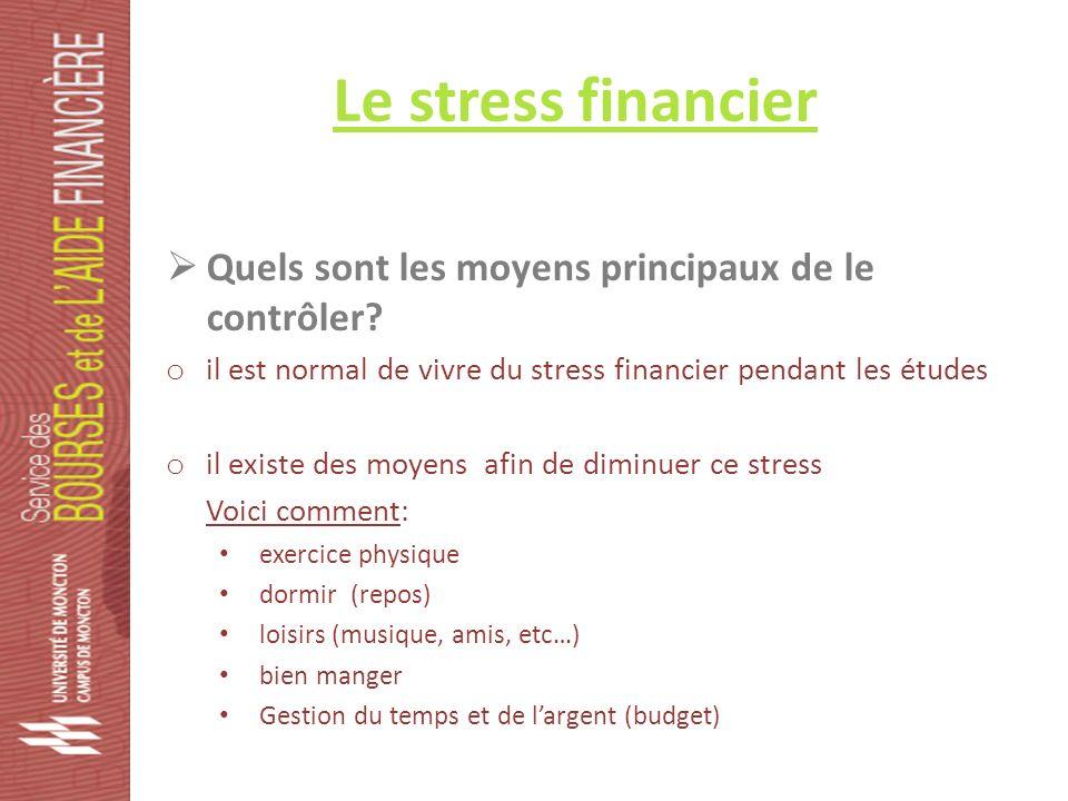Le stress financier Quels sont les moyens principaux de le contrôler.