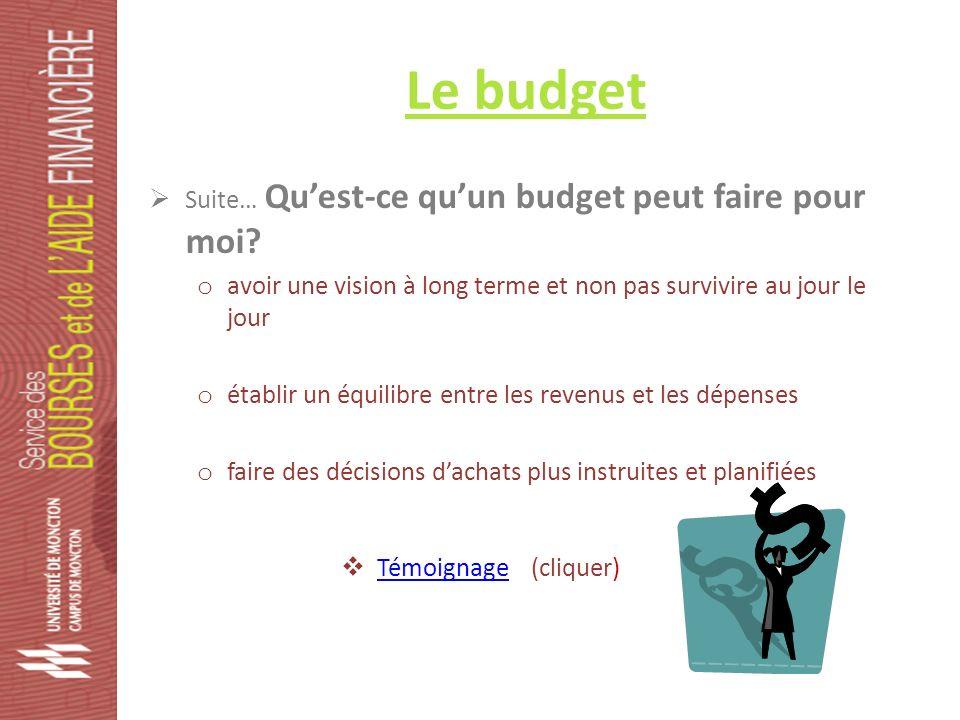Le budget Suite… Quest-ce quun budget peut faire pour moi.
