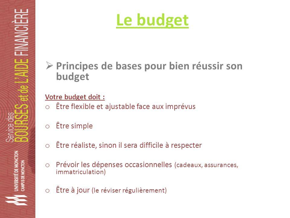 Le budget Principes de bases pour bien réussir son budget Votre budget doit : o Être flexible et ajustable face aux imprévus o Être simple o Être réaliste, sinon il sera difficile à respecter o Prévoir les dépenses occasionnelles (cadeaux, assurances, immatriculation) o Être à jour (le réviser régulièrement)