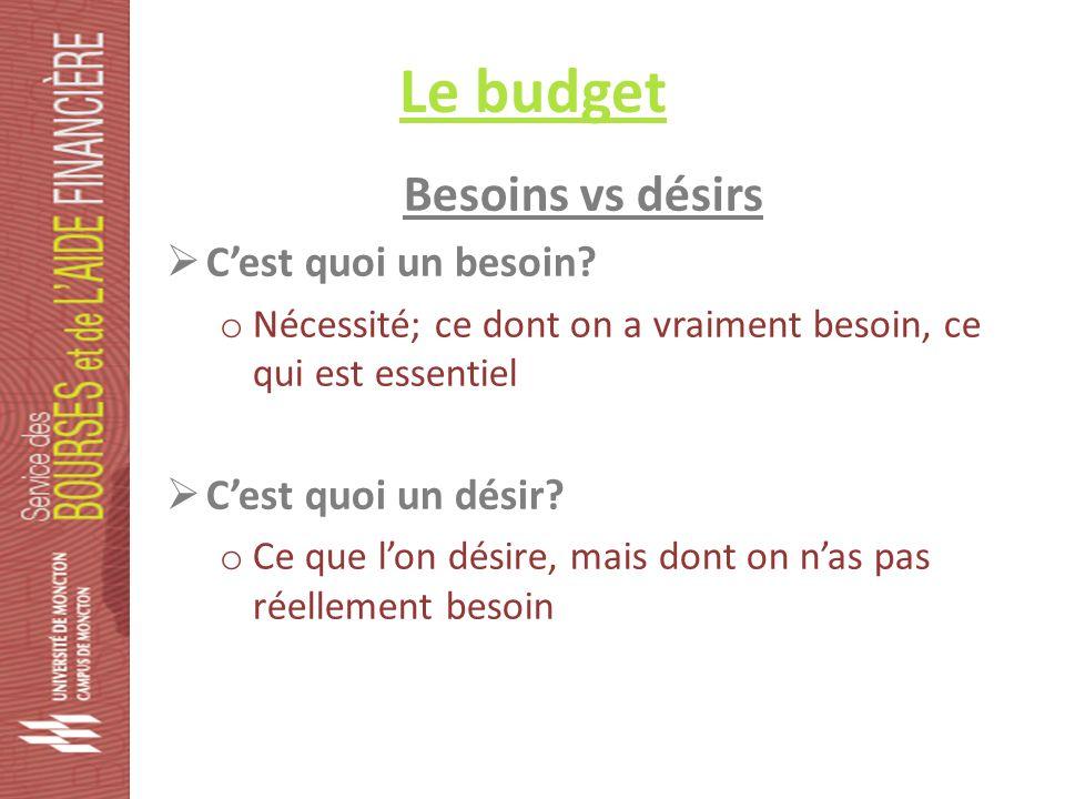Le budget Besoins vs désirs Cest quoi un besoin.