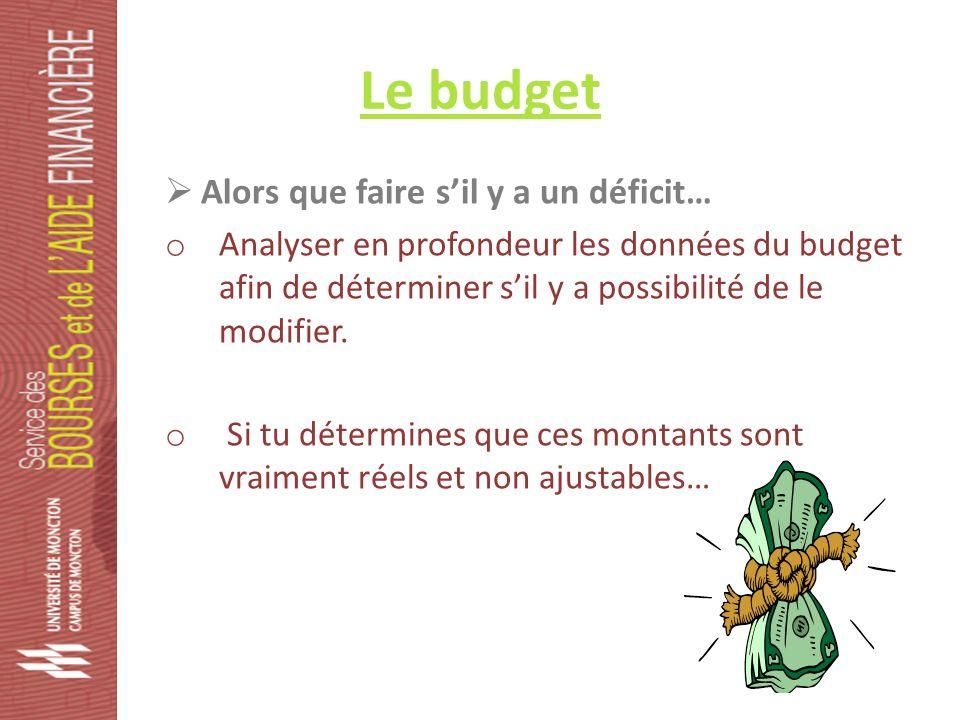 Le budget Alors que faire sil y a un déficit… o Analyser en profondeur les données du budget afin de déterminer sil y a possibilité de le modifier.