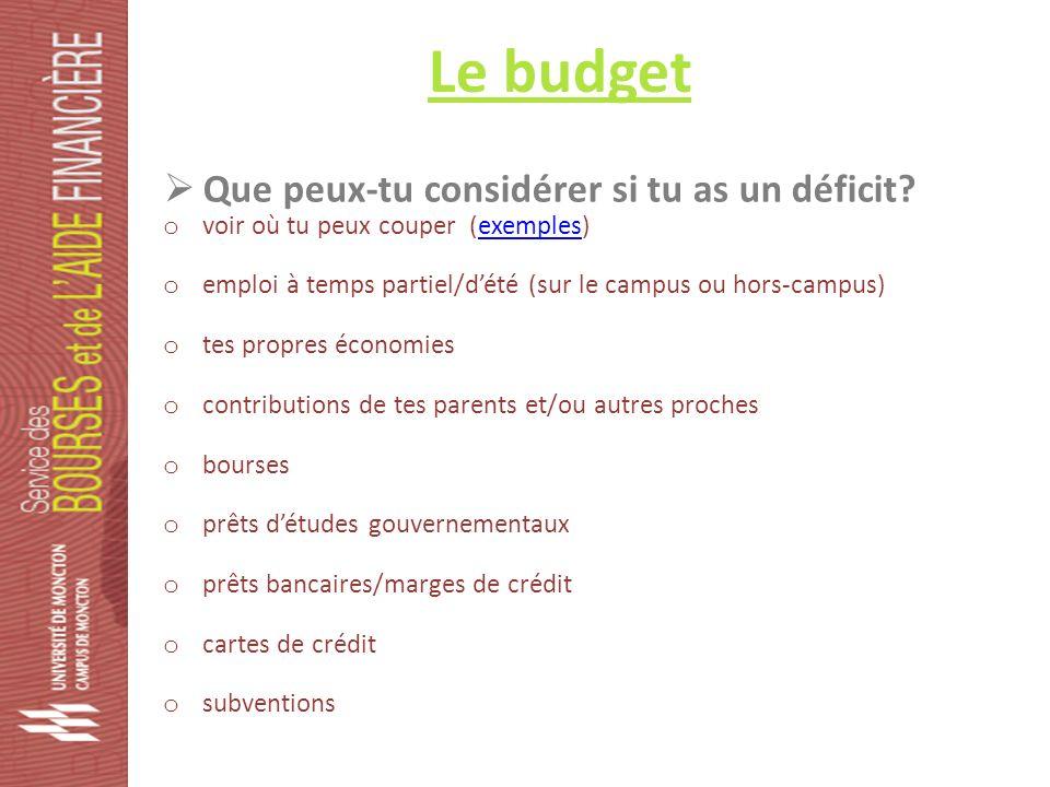 Le budget Que peux-tu considérer si tu as un déficit.