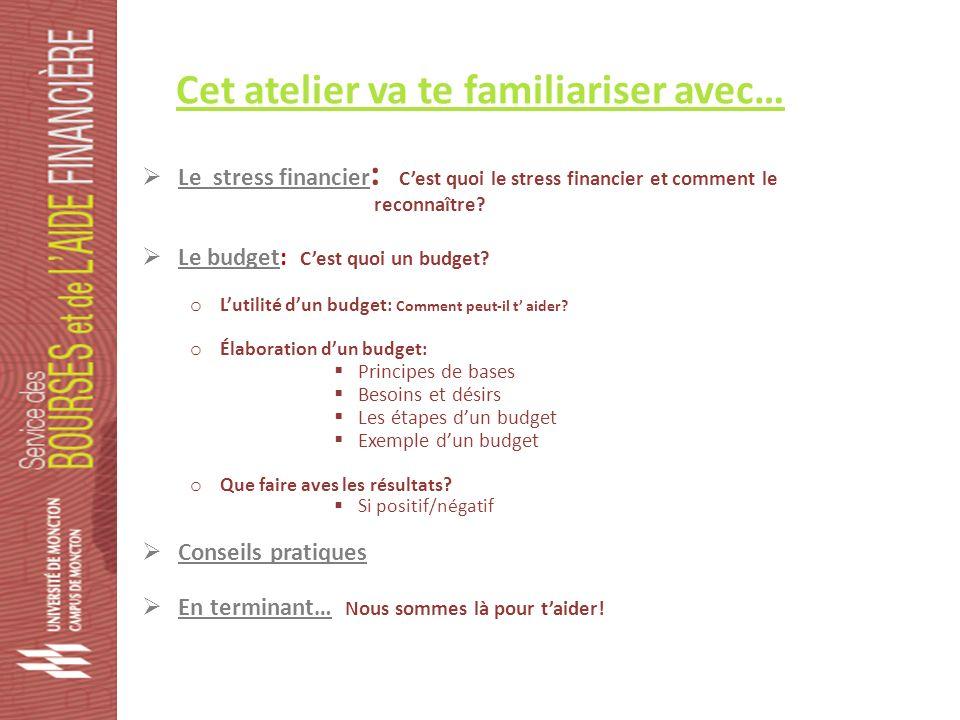 Cet atelier va te familiariser avec… Le stress financier : Cest quoi le stress financier et comment le reconnaître.