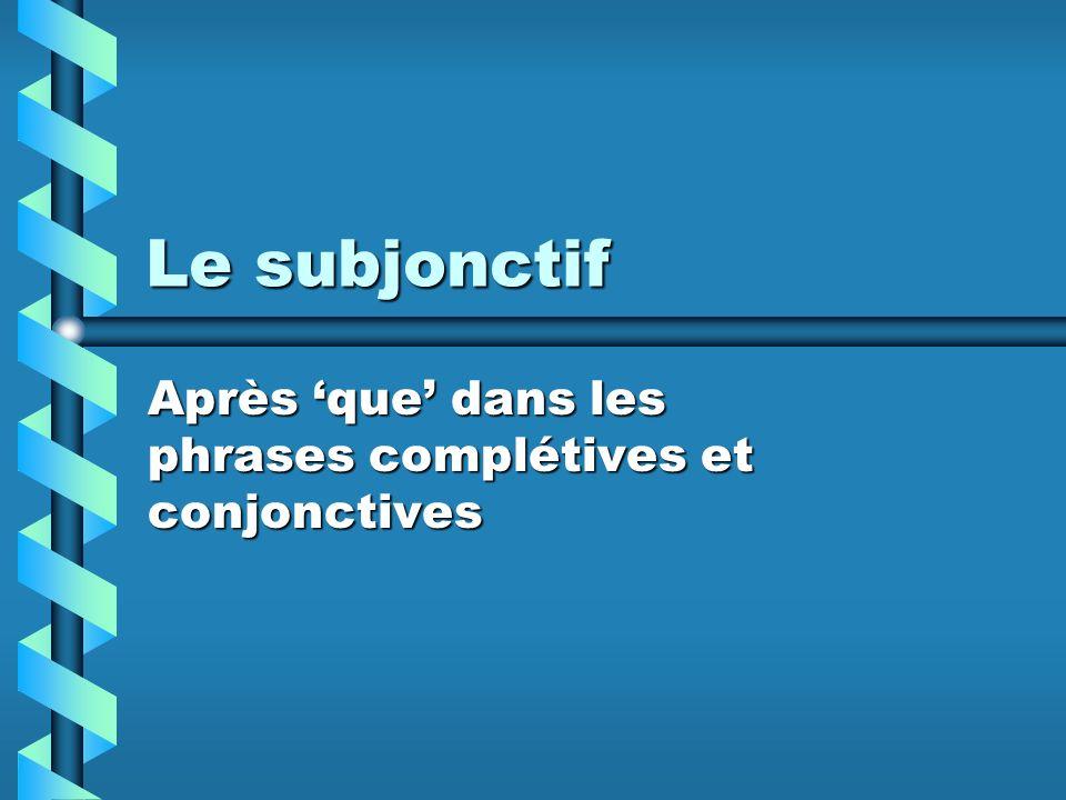 Le subjonctif Après que dans les phrases complétives et conjonctives