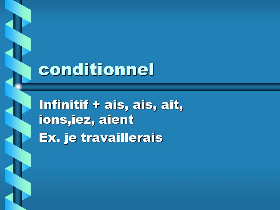 conditionnel Infinitif + ais, ais, ait, ions,iez, aient Ex. je travaillerais