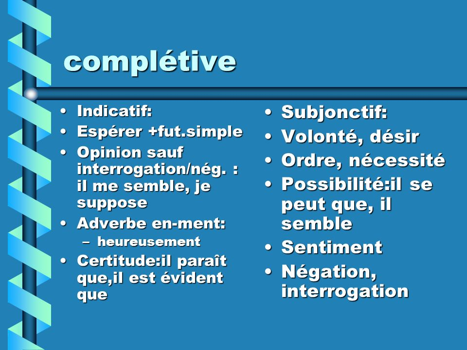 complétive Indicatif:Indicatif: Espérer +fut.simpleEspérer +fut.simple Opinion sauf interrogation/nég. : il me semble, je supposeOpinion sauf interrog