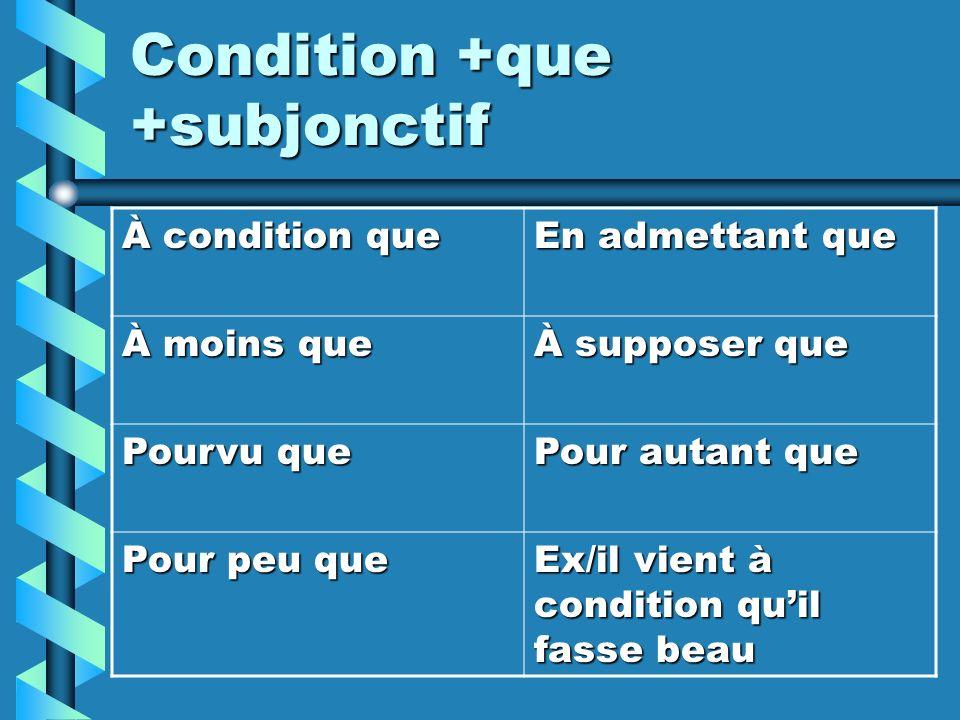 Condition +que +subjonctif À condition que En admettant que À moins que À supposer que Pourvu que Pour autant que Pour peu que Ex/il vient à condition