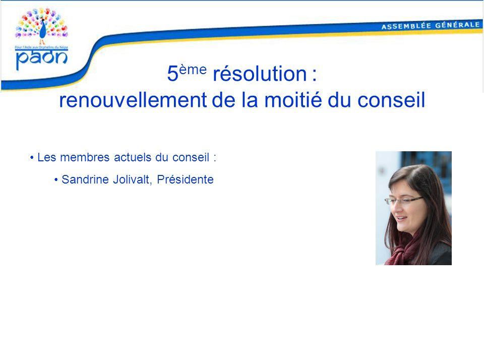 5 ème résolution : renouvellement de la moitié du conseil Les membres actuels du conseil : Sandrine Jolivalt, Présidente