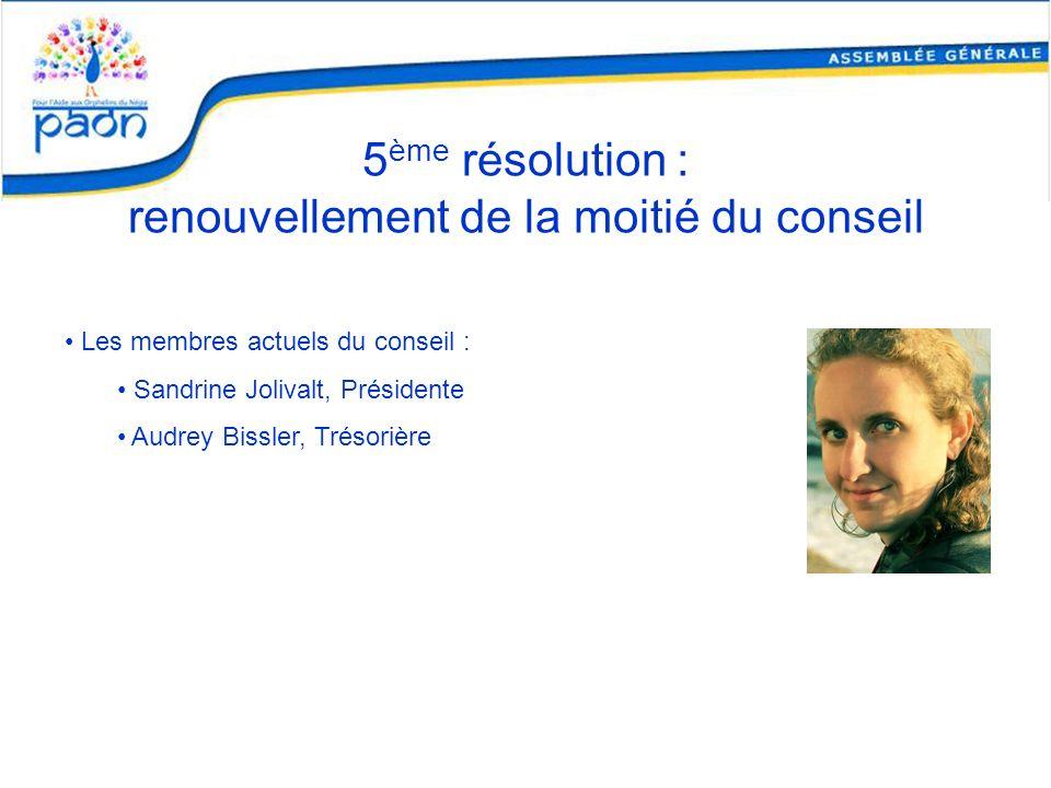 5 ème résolution : renouvellement de la moitié du conseil Les membres actuels du conseil : Sandrine Jolivalt, Présidente Audrey Bissler, Trésorière